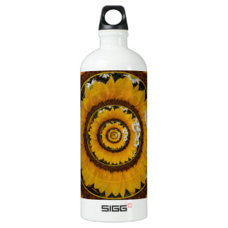 Sunflower and Daisies Under Glass Aluminum Water Bottle