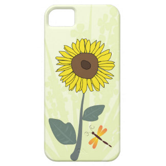 Sunflower and dragonfly with floral impressions iPhone SE/5/5s case