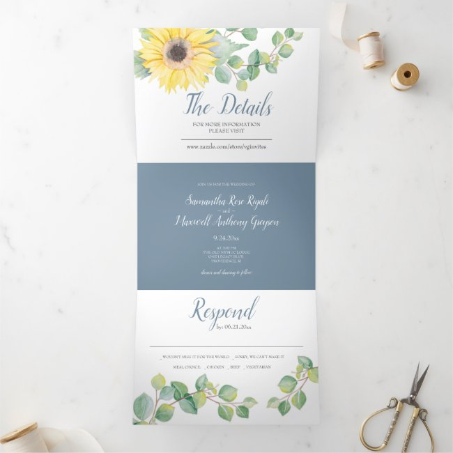Sunflower and Eucalyptus All In One Wedding Invite