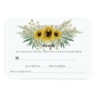 SUNFLOWER AND GREENS WEDDING RSVP CARD