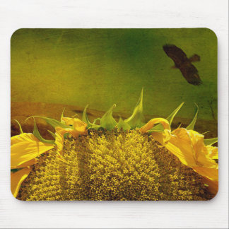 Sunflower and Hawk Mouse Pad