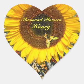 SUNFLOWER AND HONEY BEE FLORAL BEEKEEPING HEART STICKER