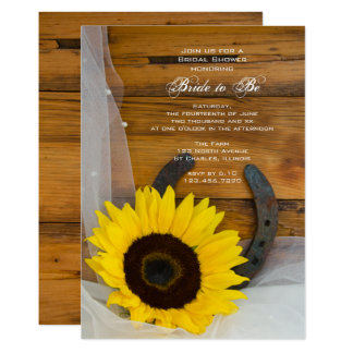 Sunflower and Horseshoe Country Bridal Shower Card