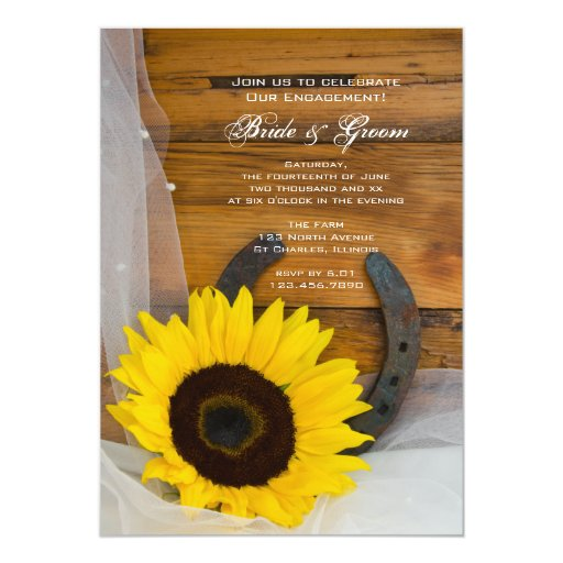 Sunflower and Horseshoe Country Engagement Party 5x7 Paper Invitation Card