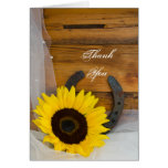 Sunflower and Horseshoe Country Thank You Note Greeting Card
