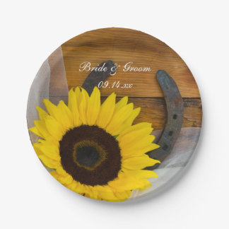 Sunflower and Horseshoe Country Wedding 7 Inch Paper Plate