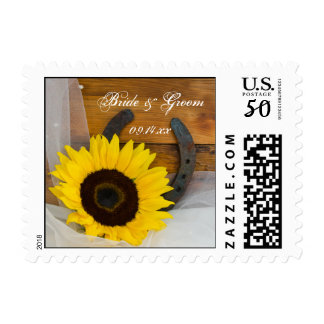 Sunflower and Horseshoe Country Western Wedding Postage