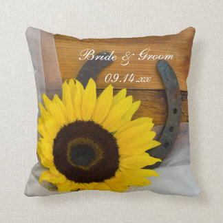 Sunflower and Horseshoe Country Western Wedding Throw Pillow