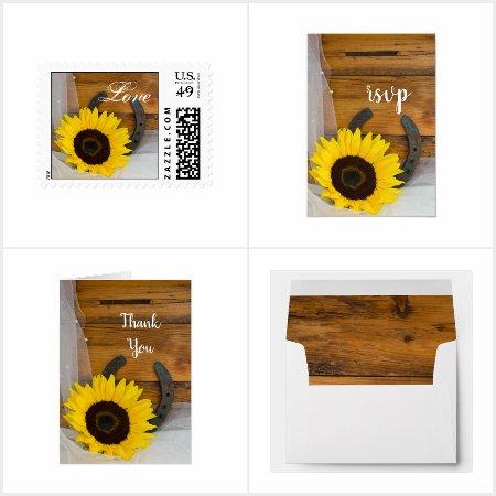 Sunflower and Horseshoe Wedding Stationery Product