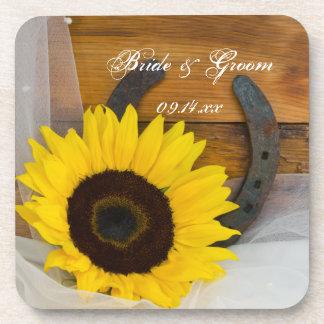Sunflower and Horseshoe Western Wedding Coaster