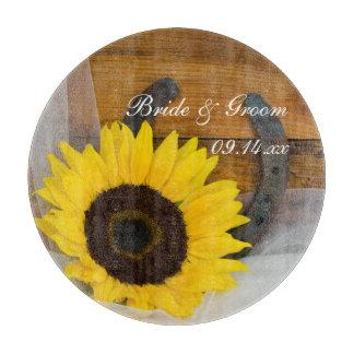 Sunflower and Horseshoe Western Wedding Cutting Board