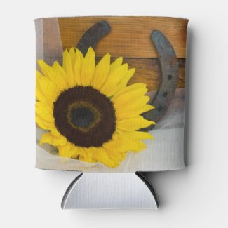 Sunflower and Horseshoe Western Wedding Favor