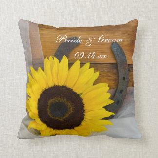 Sunflower and Horseshoe Western Wedding Pillow