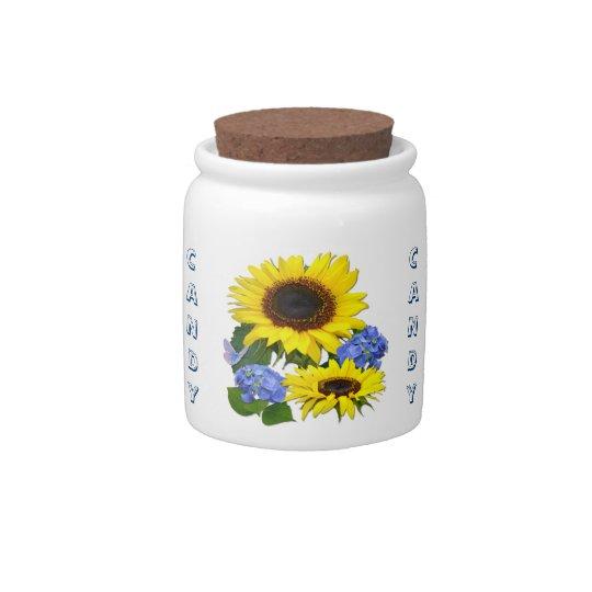 Sunflower and Hydrangea ~ Candy Jar