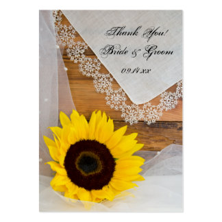 Sunflower and Lace Country Wedding Favor Tags Large Business Card