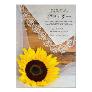 Sunflower and Lace Country Wedding Invitation