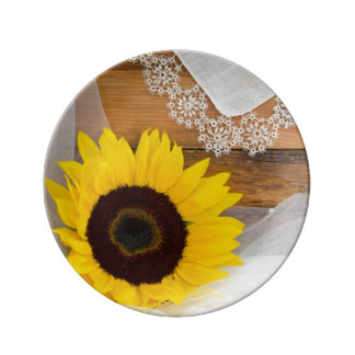 Sunflower and Lace Country Wedding Keepsake Plate
