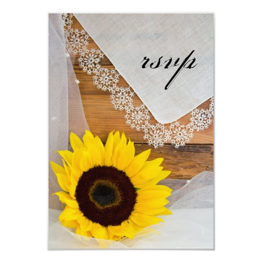 Sunflower and Lace Country Wedding RSVP Card