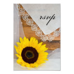 Sunflower and Lace Country Wedding RSVP Card Invitations