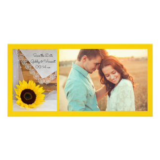 Sunflower and Lace Country Wedding Save the Date Card