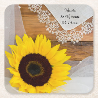 Sunflower and Lace Country Wedding Square Paper Coaster