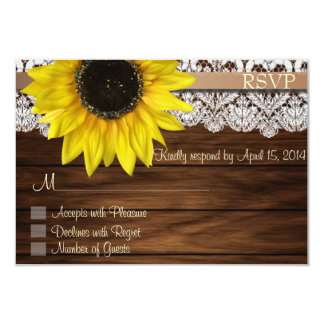 """Sunflower and lace RSVP Cards 3.5"""" X 5"""" Invitation Card"""