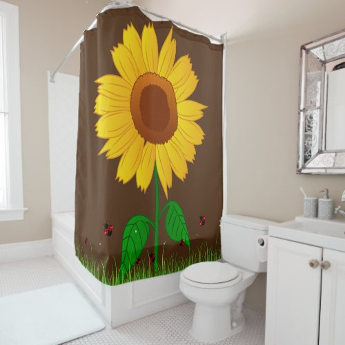 Sunflower and Lady Bugs - Shower Curtain