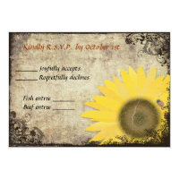 Sunflower and Ladybug Vintage Wedding RSVP Custom Announcement (<em>$2.11</em>)