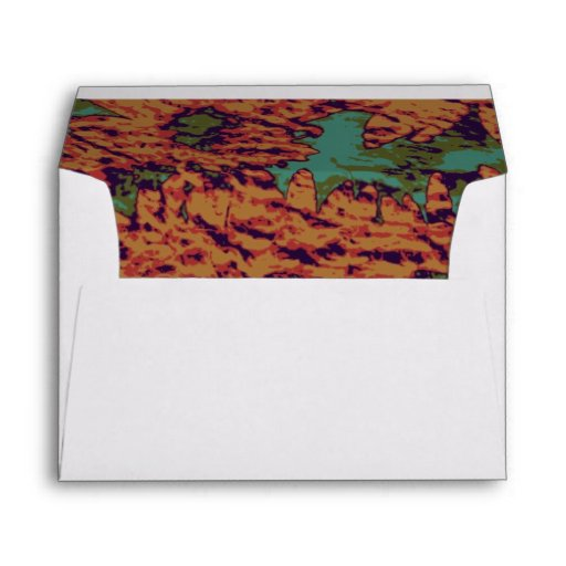 Sunflower and leaf camouflage pattern on envelope
