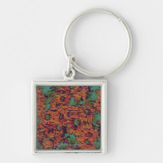 Sunflower and leaf camouflage pattern on keychain