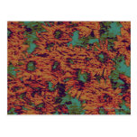 Sunflower and leaf camouflage pattern on postcard