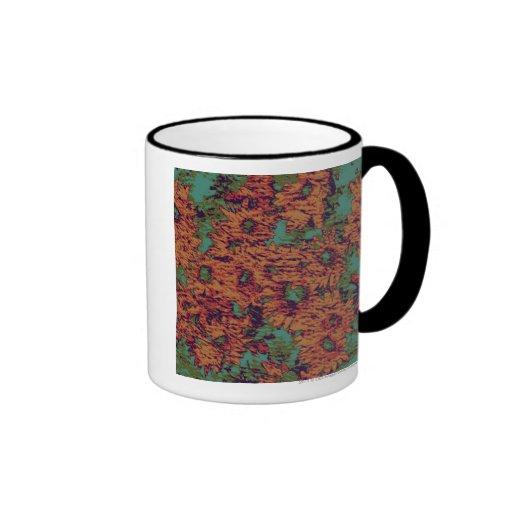 Sunflower and leaf camouflage pattern on ringer mug