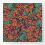 Sunflower and leaf camouflage pattern on square wall clock