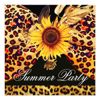 SUNFLOWER AND LEOPARD FUR BOW SUMMER GARDEN PARTY CUSTOM INVITATION