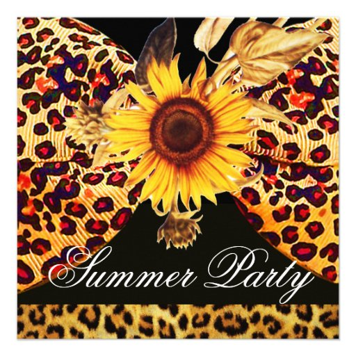 SUNFLOWER AND LEOPARD FUR BOW SUMMER GARDEN  PARTY CUSTOM INVITATION