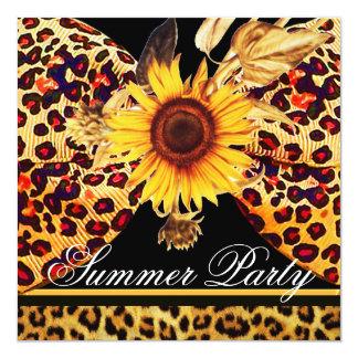 SUNFLOWER AND LEOPARD FUR BOW SUMMER GARDEN  PARTY CUSTOM INVITE