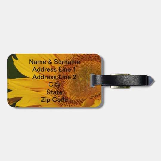 Sunflower and meaning bag tag