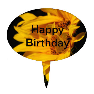 Sunflower and meaning birthday cake topper