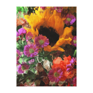 Sunflower and Mixed Floral Bouquet - Canvas Wrap
