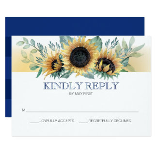 Sunflower and Navy Blue Floral Wedding RSVP Card