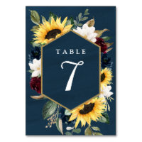 Sunflower and Navy Blue Magnolia Burgundy Wedding Table Number