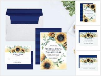 Sunflower and Navy Blue Wedding Invite Set