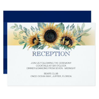 Sunflower and Navy Blue Wedding Reception Card