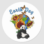 Sunflower and Panda Earth Sticker