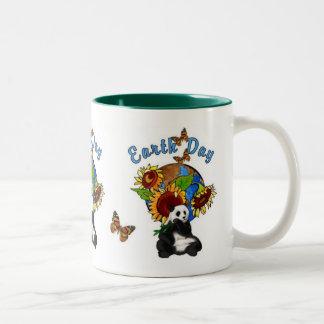 Sunflower and Panda Earth Two-Tone Coffee Mug