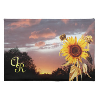 SUNFLOWER AND PINK SUMMER SUNSET MONOGRAM PLACEMAT