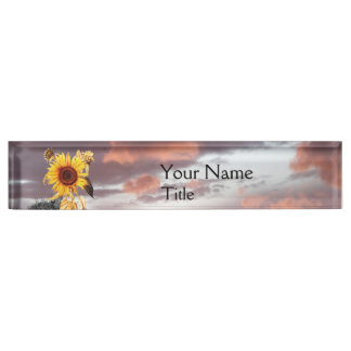 SUNFLOWER AND PINK SUMMER SUNSET NAME PLATE