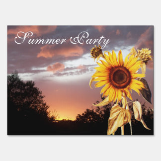 SUNFLOWER AND PINK SUMMER SUNSET Rustic Party Yard Sign