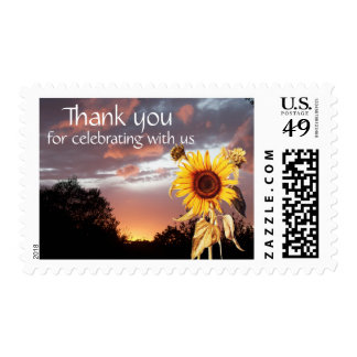 SUNFLOWER AND PINK SUMMER SUNSET ,Thank you Postage Stamp