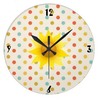 Sunflower and Polka-dot Clock